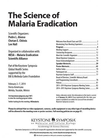 The Science of Malaria Eradication Abstract Book | Mesa